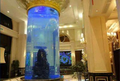 星级酒店亚克力圆柱缸已经施工完成